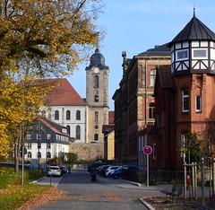 Christuskirche church and former Technikum (:Linda:) Tags: germany thuringia town hildburghausen park school formertechnikum brick church christuskirche