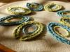 (Landanna) Tags: bullionknot stemstitch embroidery broderi borduren handmade handgemaakt needlework linen blue blauw blå green groen grøn handwerk håndlavet wool wol