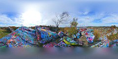 360 Panorama, Climbing the Cliffs of Quincy Quarry (brooksbos) Tags: brooks brooksbos 360 pano panorama panoramic geotagged cliffs rockclimbing hiking quincy massachusetts newengland scenic quarry quarries color colorful art artwork public graffiti skyline outdoors backpacking aerial