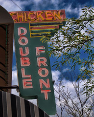 Double Breasted? (Pete Zarria) Tags: montana chicken dinner winner neon sign old green blue sky clouds diner cafe eat