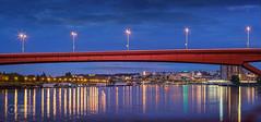Sava-River-Belgrade-Gazela-Bridge-Old-Belgrade (Predrag Mladenovic) Tags: belgrade sava river ada bridge newrailway gazela sunset twilight reflections citylights