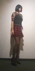 Pleated red black skirt (Wanda77W) Tags: panties skirt mini redblack highheels crossdresser transvestite seethrough lace stockings stayups