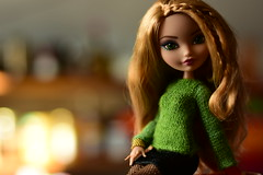 Sunday Morning Conversation (jessandgrace) Tags: doll portrait colorimage colors bokeh backgroundblur figure green sweater hand legs fishnet skirt black face lips eyes greeneyed hair bighair braids ginger blonde golden ashlynnella everafterhigh eah pretty beauty glamour cute indoor