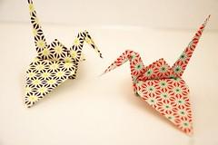 Paper Crane (Eridanus 21) Tags: chiyogami papercrane origami おりがみ ツル 折り紙 折り鶴 paper おりがみ写真 origamiphoto 千代紙ツル 千代紙