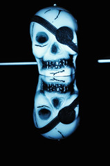 """Day 301/365 - """"I Love Pirates"""" (Little_squirrel) Tags: 365the2017edition 3652017 day301365 28oct17 ilovepirates pirates pirate halloween selfmade skulp ghost scary blackandwhite bw reflection double two eye horror smile"""