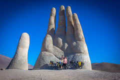 Both of us on our last big touristy thing we would do while visiting Northern Chile this year. The hand of the desert.