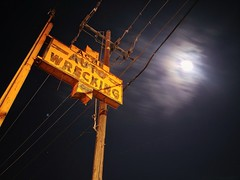 Up and Up (RZ68) Tags: acme wrecking yard salvage car parts old steel sign vintage orange black tall moon moonlight clouds motion long exposure lg lgg6 night sky phone camera