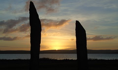 Sunset at the standing stones of Stenness (stuartcroy) Tags: orkney island scotland scenery sky sony still stenness standingstonesofstenness beautiful sunset