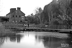 Brickworks Pond and Bridge (rcss2800) Tags: blackandwhite people outdoors walkingtrail outdoor bridge sky river water monochrome tree