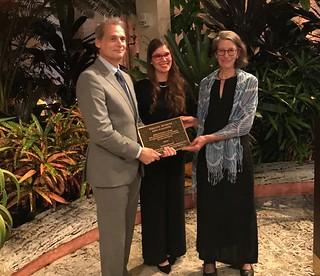 Vizcaya Director Joel Hoffman receives the prestigious Merrill award for preservation, with conservator Lauren Hall and Deborah Trupin