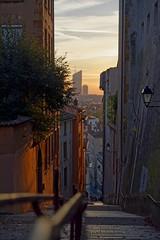 dawn's lights CH3A9676 (Ludo_M) Tags: stairs lyon narrow street urban sunrise ruelle dawn lights building aube aurore skyline
