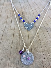 handmade fine silver layering necklaces (Protean Crafts) Tags: finesilver sterlingsilver pendants jewelry necklace heart circle sleek minimal minimalist modern v purple blue etsy proteanjewelry handmade handcrafted ooak original design indie artisan oneofakind accessory gift giftforher women love friendship layering layered beads beaded amethyst lapis lazuli double