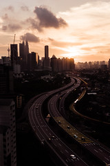 Dusk (bdrc) Tags: asdgraphy jelatek flat kuala lumpur city urban street highway avenue road traffic lrt train dusk sunset skyline cloud sky view scenery cityscape landscape world travel malaysia ampang high angle point sony sonyimages sonyalpha alphauniverse alpha a6000 apsc sigma 30mm f28 prime tripod tower buildings klcc landmark kltower skyscraper monochrome orange warm wideangle