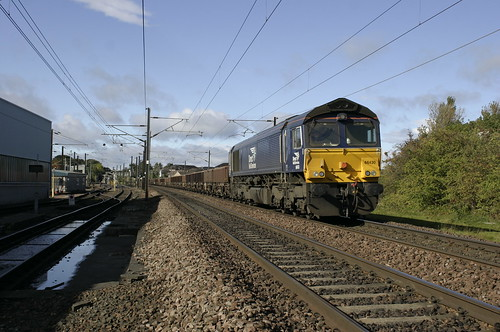 """""""Farewell to the Dark Side"""" (1). 66 430 stands on the ECML at Craigentinny."""