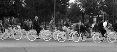 Bruiloftsgasten op de fiets (Photographer Simon) Tags: bruiloft wittefietsen mensen vrouwen mannen kinderen achterop toeschouwers straat fietspad bomen straatnaambord zwijndrecht burgjansenlaan zuidholland nederland
