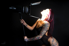 Rox Cee and the light (Waving lights in the dark) Tags: roxcee lights studio model beauty elinchrom strobe eyes deliberate lingerie photoshoot barndoors red tattoo tattoos