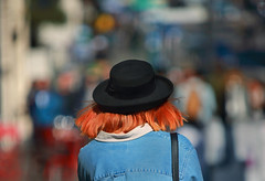 Madeline (Ian Sane) Tags: ian sane images madeline woman hat bokeh candid street photography downtown portland oregon broadway sunlight canon 5ds r camera ef70200mm f28l is usm lens