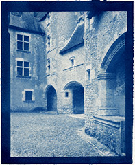 Fougères-sur-Bièvre (Philippe Torterotot) Tags: cyanotype chamonix45n2 loiretcher france 4x5 altprocess alternativeprocess procedesalternatifs contact château castle