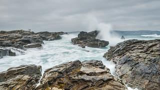 Rock ledges on Godrevy beach