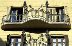 Balconies with exuberant ironwork, Barcelona