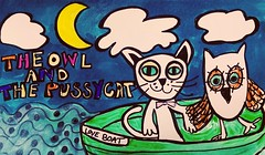 The*Owl and the Pussy Cat by Sharron Wilcock (sharronwilcock1) Tags: owl pussy cat drawing illustration art work cartoon hobby craft maker making fun happy