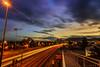 llegando a Comodoro (Mauro Esains) Tags: larga exposición exposition noche nocturna natural nubes nikon luces landscape lights angular autos puente patagonia paisaje