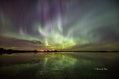 Aurora Borealis (Canon Queen Rocks (1,798,000 + views)) Tags: northernlights night nightshot landscape lake landscapes lakes scenery sky scenic auroraborealis colours greens purples reflections clouds canada calgary alberta fall autumn momentsbycelinecom lights light silhouettes water