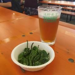 遠野ビールと遠野パドロン素揚げ (kasa51) Tags: beer yokohama japan ズモナビール october fest 遠野ビール オクトーバーフェスト横浜 oktoberfest