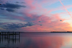 Pink & Blue on Chesapeake Bay (Patricia Henschen) Tags: chester maryland sunset chesapeake bay pier wharf chesapeakebay craballeybay clouds water reflection kentisland island