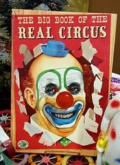 The Big Book of the Real Circus (rabidscottsman) Tags: scotthendersonphotography clown book circus makeup smile face red bluehat littlebluehat bigtreasurebooks scary creepy reading samsung samsunggalaxy6 galaxy6 mn minnesota faribaultminnesota ricecountyminnesota bald man socialmedia usa unitedstatesofamerica