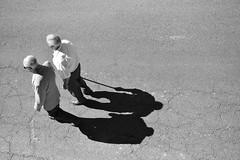 Dúo de sombras (theelectricgirl) Tags: procesión pueblo valledeltiétar elarenal ávila village gente tradición fiesta blancoynegro monocromatico gredos contrapicado carretera personas anciano sombra