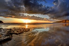 If this is where it ends (pauldunn52) Tags: sunset dunraven beach witches point glamorgan heritage coast wales sand wet reflections clouds