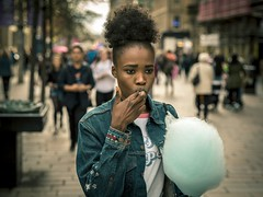 Candyfloss (Leanne Boulton) Tags: portrait people urban street candid portraiture streetphotography candidstreetphotography candidportrait streetportrait streetlife splittone woman female girl face facial expression look emotion feeling mood candyfloss sweet sugar eating blue orange teal processing tone texture detail depthoffield bokeh naturallight outdoor light shade shadow city scene human life living humanity society culture canon canon5d 5dmkiii 70mm ef2470mmf28liiusm color colour glasgow scotland uk