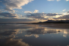 Evening Reflections (RossCunningham183) Tags: beach evening reflection sand water wetsand mountains corrimal nsw australia seascape