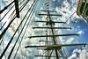 Velas (Manu Varela - Fotografía Aeronáutica y algo más) Tags: barco ship velero velas nubes cielo clouds sky azul blue coruña galicia port puerto madera spain españa navegar navegación marina marinero escuela marines oficiales marineda escala palo banderas señales