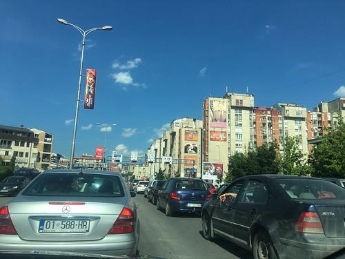 Driving on Bulevardia Bill Klinton, Pristina, Kosovo