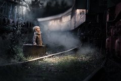 say goodbye... (iwona_podlasinska) Tags: train child kid tracks travel journey night lonley mystical fog smoke