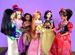 Día de Muertos with the Princesses (honeysuckle jasmine) Tags: dayofthedead díadelosmuertos diademuertos moana mulan tangled rapunzel snowwhite white snow amyadams giselle enchanted collection barbie dolls doll channel junior avalor elena princess disney
