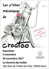 Librairie des Halles, Niort,  novembre 2017 (Croctoo) Tags: croctoo croctoofr croquis crayon aquarelle autoancienne motoancienne expo