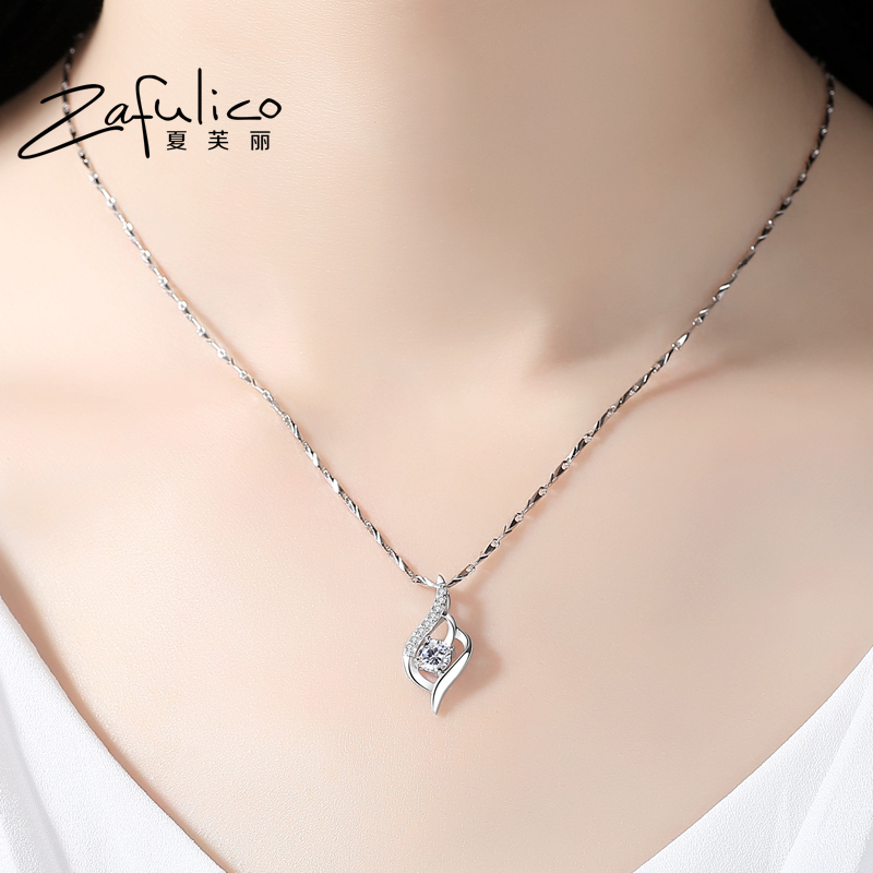 999 Sterling Silver Necklace Pendant Chain all-match South Korea female simple clavicle student Valentine's Day gift to send his girlfriend lettering
