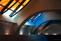 The Terminal (BB ON) Tags: ttc toronto subway metro station skylight blue orange nikon ontario highway407 modern panel light lines curves indoor concrete steel glass building