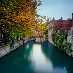 Autum Colors In Bruges II (Alec Lux) Tags: architecture autumn belgium branches bricks bridge bruges brugge building buildings canal city colorful colors daylight fall house landscape leave longexposure medieval nature old season street tree water vlaanderen be
