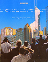 eos (woodcum) Tags: blue screen death earth people spectators city sky collage surreal grain retro vintage exception fatal error sign