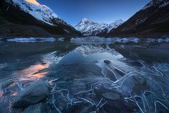 Crystal Fractures (Dylan Toh) Tags: aorakinationalpark aotearoa dawn dylantoh everlooklandscapephotography hookerlake hookervalley iceberg mountcook newzealand