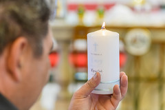 Chistening Candle (Merrillie) Tags: religion flame christening symbol religious church candle hand man person baptism