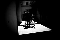 (sevendeblock) Tags: people bw street back bike calle byn shadows sombra