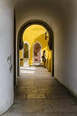 La jeune fille de Sintra ! (bertranddorel) Tags: lisbonne chateau jeunefille woman personne jaune yellow couleur color sintra portugal lumière nikon