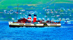 Scotland West Highlands Argyll the paddle steamer Waverley and the Argyll Flyer making for Dunoon 15 August 2017 by Anne MacKay (Anne MacKay images of interest & wonder) Tags: scotland west highlands paddle steamer waverley passenger ship argyll flyer sea coast xs1 15 august 2017 picture by anne mackay