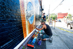 Blue Moon (Always Hand Paint) Tags: 2017 b185 beer bluemoon bluemoonprogress brooklyn erik gabe newyork ooh redhook advertising alwayshandpaint colossal colossalmedia handpaint mural muraladvertising outdoor progress skyhigh skyhighmurals summer