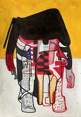 Jim Harris: Raumanzug II. (Jim Harris: Artist.) Tags: space art arte kunst drawing dessin yellow black rysunek lartabstrait technology technik weltraum künstler kunstzeitgenössische avantgarde